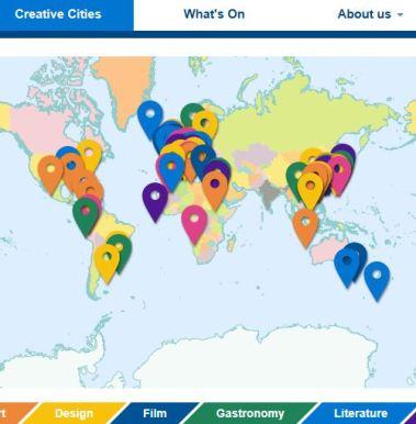 Skjermbilde UNESCO oversikt kreative byer